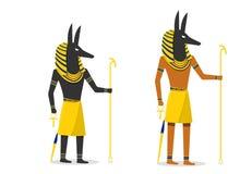 Anubis στο επίπεδο διανυσματικό σχέδιο που απομονώνεται στο λευκό Απεικόνιση αποθεμάτων