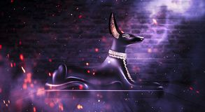 Anubis of Ancient Egypt God of Death. Dark abstract Egyptian background. Dark room with smoke, pyramid, rays of light vector illustration