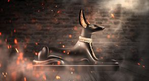 Anubis of Ancient Egypt God of Death. Dark abstract Egyptian background. Dark room with smoke, pyramid, rays of light royalty free illustration