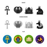 Anubis, Ankh, Cairo citadel, Egyptian beetle.Ancient Egypt set collection icons in black, flat, monochrome style vector Royalty Free Stock Image