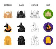 Anubis, Ankh, Cairo citadel, Egyptian beetle.Ancient Egypt set collection icons in cartoon,black,outline,flat style Royalty Free Illustration