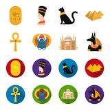Anubis, Ankh, Cairo citadel, Egyptian beetle.Ancient Egypt set collection icons in cartoon,flat style vector symbol Royalty Free Stock Photos