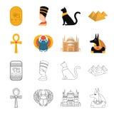 Anubis, Ankh, citadelle du Caire, scarabée égyptien Icônes réglées antiques de collection d'Egypte dans la bande dessinée, symbol illustration stock