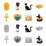 Anubis, Ankh, citadelle du Caire, scarabée égyptien Icônes réglées antiques de collection d'Egypte dans la bande dessinée, vecteu Photographie stock libre de droits