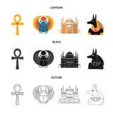 Anubis, Ankh, citadelle du Caire, scarabée égyptien Icônes réglées antiques de collection d'Egypte dans la bande dessinée, noir,  Image stock