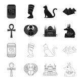 Anubis, Ankh, citadelle du Caire, scarabée égyptien Icônes réglées antiques de collection d'Egypte dans le noir, symbole de vecte Illustration Stock