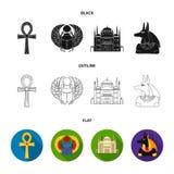 Anubis, Ankh, Kair cytadela, Egipska ściga Antyczne Egipt ustalone inkasowe ikony w czarnym, płaski, konturu stylowy wektor Fotografia Royalty Free