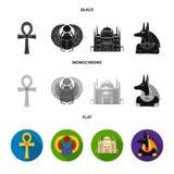 Anubis, Ankh, Kair cytadela, Egipska ściga Antyczne Egipt ustalone inkasowe ikony w czarnym, płaski, monochromu stylowy wektor Obraz Royalty Free