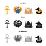Anubis, Ankh, Kair cytadela, Egipska ściga Antyczne Egipt ustalone inkasowe ikony w kreskówce, czerń, monochromu stylowy wektor Zdjęcie Royalty Free