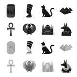 Anubis, Ankh, Kair cytadela, Egipska ściga Antyczne Egipt ustalone inkasowe ikony w czarnym, monochromu stylowy wektorowy symbol ilustracji