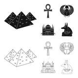Anubis, Ankh, Kair cytadela, Egipska ściga Antyczne Egipt ustalone inkasowe ikony w czerni, konturu stylowy wektorowy symbol Obraz Royalty Free