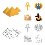Anubis, Ankh, Kair cytadela, Egipska ściga Antyczne Egipt ustalone inkasowe ikony w kreskówce, konturu stylowy wektorowy symbol Obraz Stock