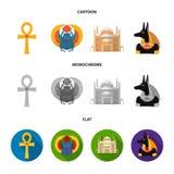 Anubis, Ankh, Kair cytadela, Egipska ściga Antyczne Egipt ustalone inkasowe ikony w kreskówce, mieszkanie, monochromu stylowy wek Fotografia Stock