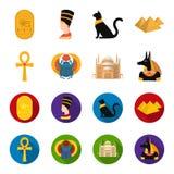 Anubis, Ankh, Kair cytadela, Egipska ściga Antyczne Egipt ustalone inkasowe ikony w kreskówce, mieszkanie stylowy wektorowy symbo Zdjęcia Royalty Free