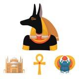 Anubis, Ankh, Kair cytadela, Egipska ściga Antyczne Egipt ustalone inkasowe ikony w kreskówka stylu symbolu wektorowym zapasie Zdjęcia Stock