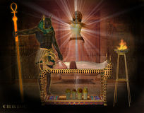 Anubis assisting the queen. Anubis assisting woman queen to rise to the underworld Stock Photography