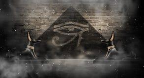 Anubis av den forntida Egypten guden av död Mörk abstrakt egyptisk bakgrund vektor illustrationer