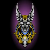 Holy anubis gold and silver vector illustration