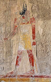 Anubis fresco. Painting in the Temple of Queen Hatshepsut, Luxor stock images