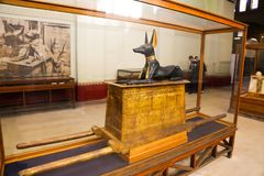 Anubis god statue of Taut Ankh Amon treasure - Egyptian museum. Cairo, Egypt Jan. 2018 Ancient gold and silver pieces of Taut Ankh Amon treasure Egyptian museum stock image