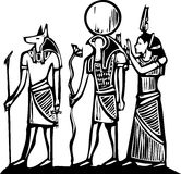 Anubis and Horus. Egyptian hieroglyph in woodcut style Royalty Free Stock Photos