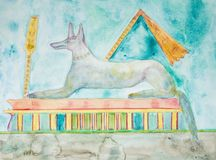 Anubis lying on a tomb. The dabbing technique near the edges gives a soft focus effect due to the altered surface roughness of the paper stock illustration