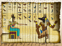 Anubis och Cleopatra stock illustrationer