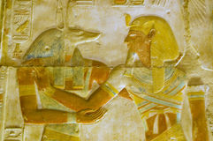 Anubis and Pharoah Seti carving. An ancient egyptian hieroglyphic carving of the jackal headed god Anubis with the Pharoah Seti I. Coloured carving on a wall of stock photo