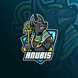 Anubis vector mascot logo design with modern illustration concept style for badge, emblem and tshirt printing. angry anubis royalty free illustration
