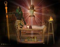 Anubis, welches die Königin unterstützt Stockfotografie