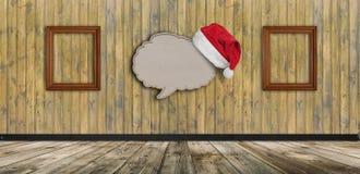 Anule a bolha de papel reciclada do discurso com o chapéu de Santa no backgr de madeira foto de stock
