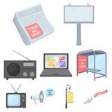Anunciando ícones ajustados no estilo dos desenhos animados Imagens de Stock