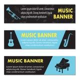 Anunciando bandeiras musicais Fotos de Stock