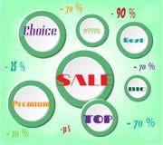 Anunciando a etiqueta com círculos brancos com texto - Fotos de Stock Royalty Free