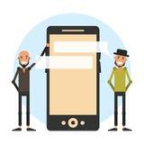 Anunciando uma forma app para o smartphone Modernos dos desenhos animados mim Fotos de Stock