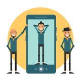 Anunciando uma forma app para o smartphone Modernos dos desenhos animados mim Fotografia de Stock