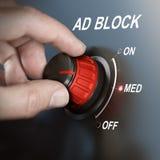 Anuncio Bloking, filtrado de contenido Foto de archivo libre de regalías