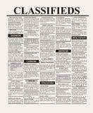 Anuncio clasificado Foto de archivo