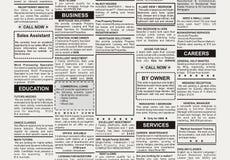 Anuncio clasificado stock de ilustración