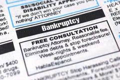 Anuncio de la bancarrota Imágenes de archivo libres de regalías