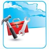 Anuncio de la nube con la caja de herramientas y las herramientas Foto de archivo libre de regalías