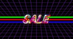 Anuncio de oro de la venta en el fondo retro 4k de los años ochenta almacen de metraje de vídeo