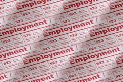 Anuncio de periódico del empleo Imagen de archivo libre de regalías