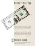Anuncio del éxito empresarial con un billete de dólar Fotografía de archivo libre de regalías