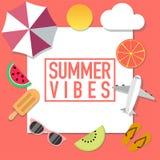 Anuncio del estilo del humor del verano con muchos objetos stock de ilustración