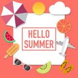 Anuncio del estilo del humor del verano con muchos objetos libre illustration