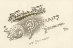 Anuncio del fotógrafo, Circa 1880 Imagen de archivo libre de regalías