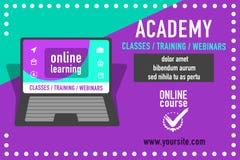 Anuncio en línea de la educación Imágenes de archivo libres de regalías