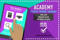 Anuncio en línea de la educación Imagenes de archivo
