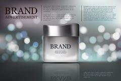 Anuncio poner crema antienvejecedor de la belleza Diseño de paquete de los cosméticos ejemplo de la belleza del vector 3d Máscara Fotografía de archivo